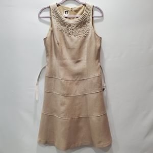 Anne Klein Linen Sleeveless Embroidered Dress P129